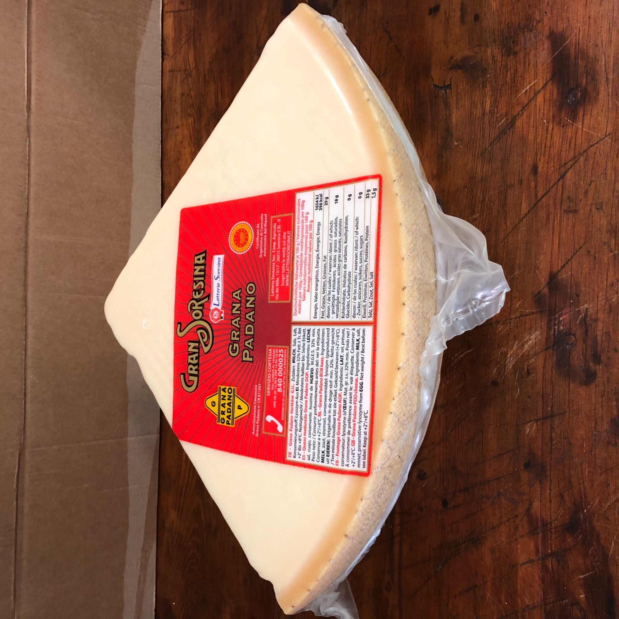 Grana Padano 1/8 Seasoned Soresina